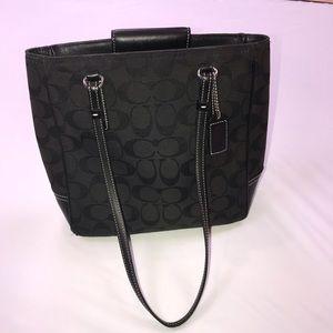 "Used black coach bag 10x 11"" dual strap"